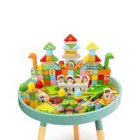 儿童积木玩具启蒙益智3-6-7周岁男孩1-2岁女孩宝宝木制拼装积木桌