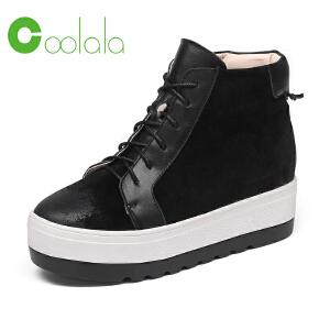 红蜻蜓coolala冬季新款真皮高帮休闲鞋女单鞋保暖平底女单鞋