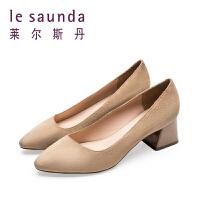莱尔斯丹 春季阔腿裤配的鞋粗高跟绒面浅口女鞋单鞋9T51702