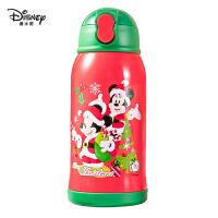 迪士尼儿童保温杯带吸管小学生圣诞水杯便携水壶幼儿园保温吸管杯