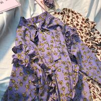 18秋韩国复古ins推荐甜美小碎花系带领木耳花边宽松衬衫女 紫色 均码