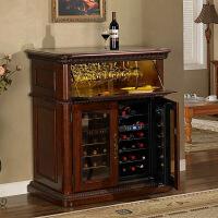 冰吧恒温酒柜家用冷藏红酒冰箱酒柜小型保温柜红酒储存柜实木欧式 图片色双机芯电子制冷