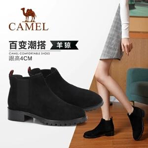 Camel/骆驼女鞋 2018冬季新款 时尚短筒粗跟气质质感淑女简约女靴