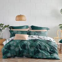 LOVO家纺 全棉60支高支高密四件套纯棉缎纹床上用品床单被套1.5/1.8米床 摇曳海草