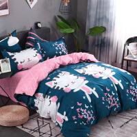床上四件套全棉纯棉床单被罩网红床品水洗棉1.5米1.8m婚庆三4件套 墨绿色 B甜蜜梦乡墨绿