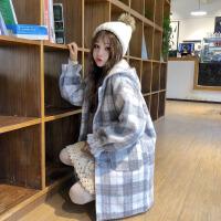 呢子毛呢外套女秋冬装2018新款韩版宽松可爱格子连帽中长款大衣萌 图片色 均码