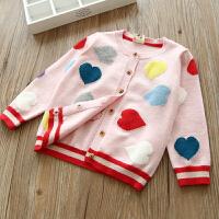 彩色爱心女童针织开衫宝宝儿童长袖毛衣外套2018春装新款童装 粉红色 桃心针织开衫