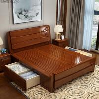 新中式实木床1.5米床现代简约原木高箱储物橡木双人1.8米婚床主卧