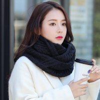 2018新款女士毛线围脖冬季韩版保暖围巾纯色套头学生针织黑色脖套 黑色 百搭
