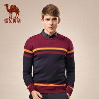 骆驼男装 秋冬季青年套头直筒圆领撞色条纹羊毛长袖毛衣男针织衫