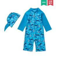 韩版新颖儿童泳衣男童连体中小童婴幼儿长袖男孩游泳衣防晒冲浪服