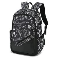?高中学生书包男士时尚潮流韩版休闲双肩包初中大学生旅行校园背包? 4_黑白USB版 送胸包+两件套