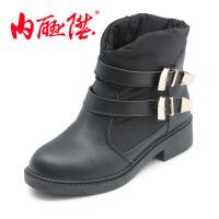 内联升女棉鞋女式羽绒短靴秋冬时尚休闲老北京布鞋 6843C
