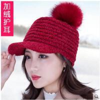 针织帽女士韩版潮流毛线帽冬季百搭护耳加绒加厚保暖学生帽子