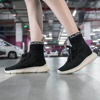 韩版潮搭运动高帮鞋中跟厚底休闲鞋透气网布系带高帮鞋女