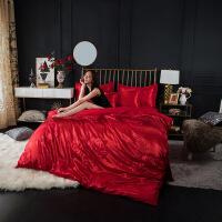 商场同款欧式棉优卡丝贡缎提花床单床笠款大红婚庆床上用品双人四件套