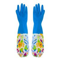 普润(PU RUN) 洗衣加绒保暖手套防水加长加厚乳橡胶厨房洗刷碗家务刷碗洗衣服胶皮塑胶 颜色随机
