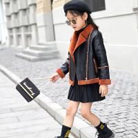 女童外套儿童皮衣2017新款中大加厚秋装韩版加绒皮毛一体夹克潮