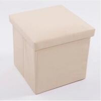 收纳凳子储物凳可坐人糖果色皮革换鞋凳有盖玩具收纳箱凳 24L