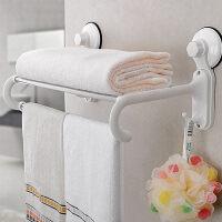双庆 吸盘式厨房卫生间浴室墙多用不锈钢置物架毛巾架带挂钩毛巾架不锈钢浴室架双层SQ6899