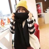 韩版粗毛线围巾女秋冬季学生韩国长款加厚保暖情侣围脖男纯色针织