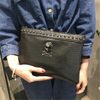 手拿包女包韩版大容量手挽包时尚手包个性单肩斜跨包潮包 黑色