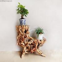 根雕花架杜鹃根盆景架天然多层古典实木树根摆件奇石底座