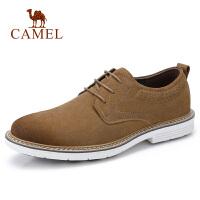 【满199减100元】camel骆驼男鞋 秋季新品休闲牛皮鞋潮流时尚轻盈反绒复古系带鞋