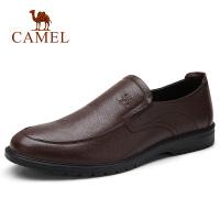 camel骆驼男鞋秋季新款商务休闲皮鞋男舒适牛皮办公套脚皮鞋驾车鞋