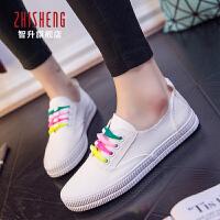 2018夏季新款小白鞋女帆布鞋韩版彩带休闲鞋运动女帆布鞋板鞋女球鞋潮女鞋