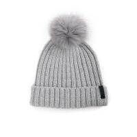 帽子女冬天时尚韩版潮毛线帽狐狸毛球套头帽加厚保暖护耳针织帽