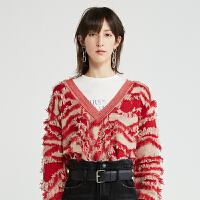 DAZZLE地素 2019秋装新款时髦流行大红色斑马纹毛衣女2G3E4091H