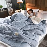 毛毯被子加厚保暖珊瑚绒毯子冬季单双人法兰绒午睡空调盖毯小被被 200cmX230cm(3层加厚 可盖可垫多功能毯