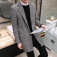 男士新款秋冬大衣潮男韩版修身千鸟格大码毛呢风衣青年时尚外套