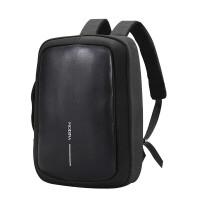 大容量双肩包拼接皮包 15英寸笔记本商务电脑包 都市公文包男 休闲背包书包女 黑色 黑色