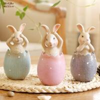 年货元旦礼物创意动物三不兔子摆件田园欧式工艺礼品乔迁家居装饰