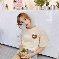 T恤 女士圆领印花背后卡通短袖2020年夏季新款韩版时尚女式宽松女装打底衫