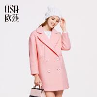 OSA欧莎冬季新品双排扣真口袋毛呢外套女士大衣SD523009