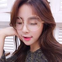 眼镜框女潮复古眼镜架电脑手机可配镜平面镜男超大圆框眼镜