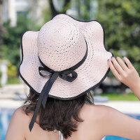 女士草帽度假太阳帽子 可折叠沙滩遮阳帽帽子 韩版海边百搭太阳帽女