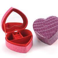 开馨宝 爱心双层首饰盒 化妆盒 储物盒-玫红色鳄鱼纹