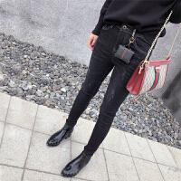 牛仔裤女17新款加厚拉绒长裤韩版时尚带小包包装饰牛仔铅笔裤 黑色