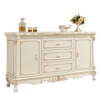 欧式餐边柜实木客厅大理石边柜玄关柜家用厨柜碗柜储物柜白色烤漆 双门