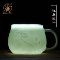 陶瓷带过滤带盖泡茶杯景德镇茶具影青带盖家用办公茶水分离杯