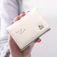 新款钱包女短款学生可爱小清新撞色搭扣女生小零钱包皮夹钱夹