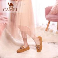 骆驼女鞋新款渔夫鞋女秋冬季鞋子女孕妇鞋加绒懒人鞋女豆豆鞋