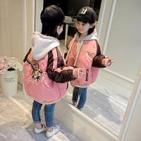 女童外套2018装新款棉衣秋加厚羽绒刺绣子棒球服潮 粉红色 妈妈M码