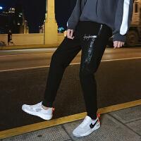 九分裤男潮青少年修身黑色裤男士韩版休闲裤青年运动裤哈伦裤YC-861