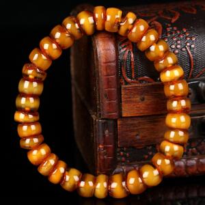 蜜蜡满蜡带皮算盘珠手串   直径9mm