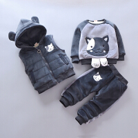 宝宝冬装加绒加厚套装男童卫衣4女婴儿2衣服0儿童装1-3周岁韩版潮